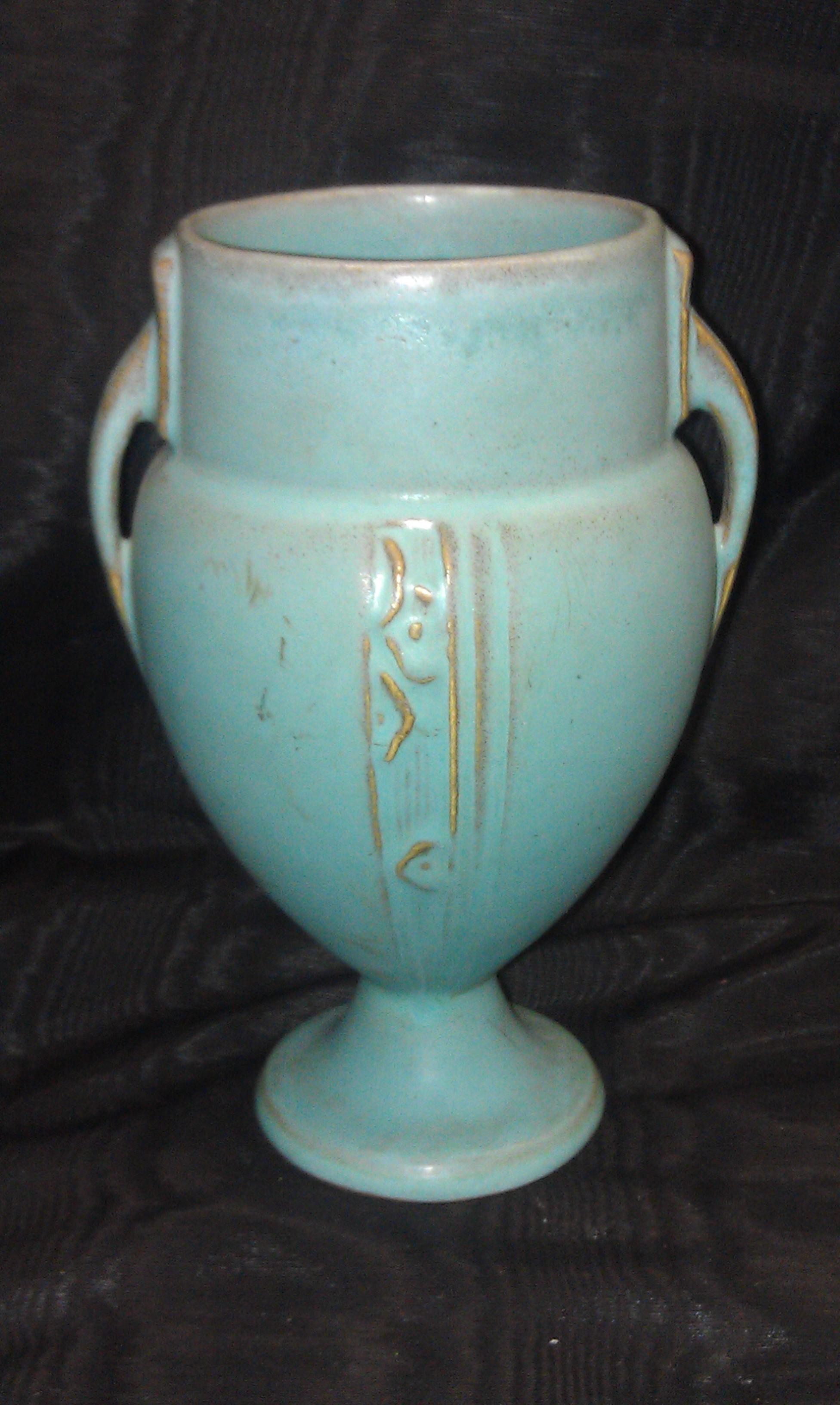roseville pottery handled vase moderne. Black Bedroom Furniture Sets. Home Design Ideas